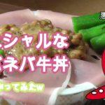 すき家の牛丼にトッピング「スペシャルなネバネバ丼作ってみた」