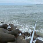 河原子海岸にて浮き釣りでイシモチを狙う…も、脂なしサンマのせい?